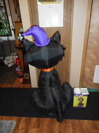 nib gemmy halloween airblown inflatable black cat 4ft tall black