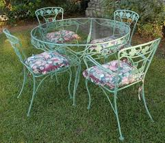 Wrought Iron Patio Furniture Set by Vintage Wrought Iron Patio Set Dogwood Blossoms U0026 Branches Sage