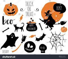halloween set bats spider pumpkins witch stock vector 481980097