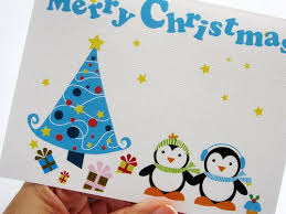 cards with penguins lights card and decore