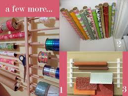 storing wrapping paper to organize gift wrap