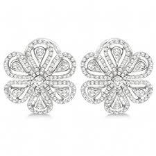 diamond earrings design 1 02ct unique floral design diamond earrings omega