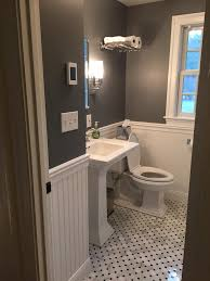 tiny bathroom remodel paint is rock gray by benjamin moore tile