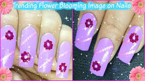 nail art designs step by step at home trending flower blooming