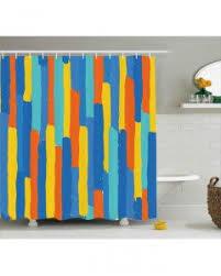 modern shower curtain rainbow colored buds print for bathroom