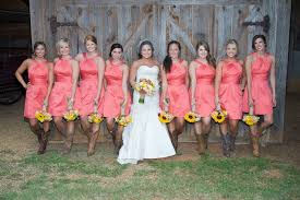 bridesmaid dresses with cowboy boots coral bridesmaid dresses with cowboy boots elite wedding looks
