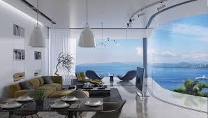 sea view living room breathtaking luxury resort villas located in the aegean sea