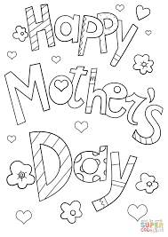 happy mother u0027s day doodle coloring page free printable coloring