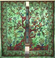 Bohemian Drapes Green Tree Of Life 2 Panels Window Hanging Drapes Boho Door Curtains