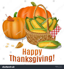 happy thanksgiving card poster background basket stock vector