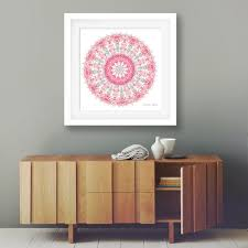 Red Coral Home Decor by Large Coral Mandala Print 24x24 Wall Art Oversized Decor Grey