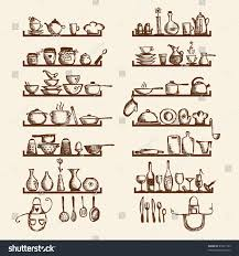kitchen utensils on shelves sketch drawing stock vector 85341703