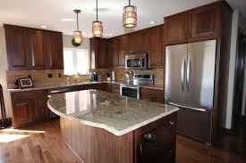 Stained Hickory Cabinets Rustic Hickory Cabinets Storage Sophisticated And Urbane Rustic