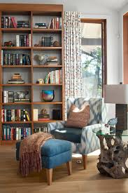 reading nook hall contemporary with wood shelves acrylic throw