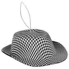 black white houndstooth hat ornament 4 75 xy6633