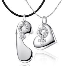 Sterling Silver Engravable Jewelry Engravable Male Female Symbol 925 Sterling Silver Necklaces Set