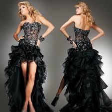 split evening dress front short back long strapless illusion