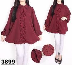 blouse wanita atasan blouse wanita lengan panjang modis ukuran jumbo big size
