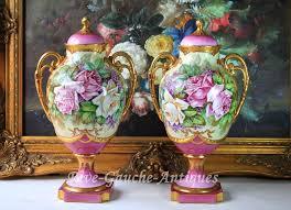 Antique Hand Painted Vases Pair Of 14 U0027 U0027tall Limoges France Antiques Hand Painted Vases