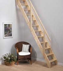 neutral minimalist wooden staircase design for small space with