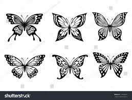 beautiful butterflies monochrome style tattoo design stock vector