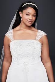 a line plus size wedding dress with cap sleeves david u0027s bridal