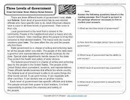 three levels of government 3rd grade reading comprehension worksheet