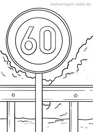 Limite de vitesse des panneaux de signalisation Coloriage