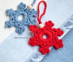 snowflake pattern crochet snowflake christmas tree decoration