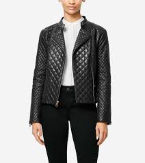moto jacket women u0027s italian smooth lambskin quilted moto jacket in black