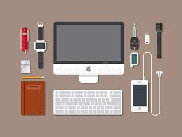 Flat Top Desk Office Workspace Top View Of Desk Workplace Background With