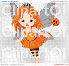 clipart halloween fairy with a pumpkin wand royalty free