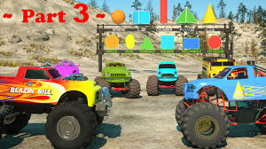 monster truck videos on youtube learn shapes and race monster trucks toys part 3 videos for