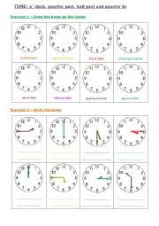 english worksheets time o clock quarter past to and half past
