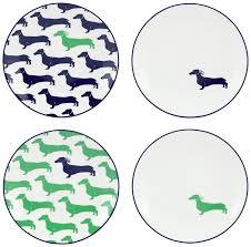 amazon com kate spade new york wickford dachshund tidbit plates
