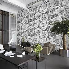 white rose on black wallpaper for fully deco furniture