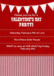 Valentine S Day Flags Red Themed Valentine U0027s Day Party Invitation Card Design With White