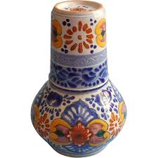Mexican Pottery Vases Talavera Pottery Tumble Up Set Hand Painted Mexico Puebla Vintage