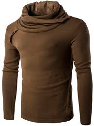 oblique buttons embellished turtle neck long sleeve sweater khaki