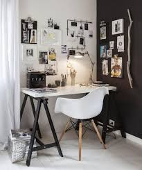 bureau noir et blanc exemple décoration bureau noir et blanc idee creative bureau