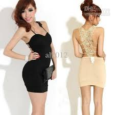 2017 new women backless sling hollow out lace party cocktail