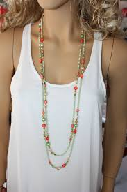 bead necklace long images Extra long bright green and reddish orange beaded necklace multi jpg
