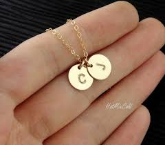 gold monogram initial necklace two monograms disc necklace gold initial necklace customized