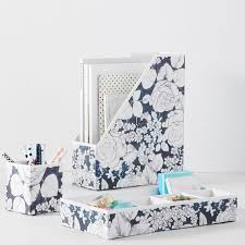 printed paper desk accessories charcoal floral pbteen Floral Desk Accessories
