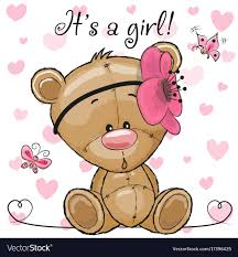 teddy baby shower baby shower greeting card with teddy girl vector image