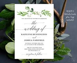 wedding invitations greenery greenery wedding invitation printable garden greenery wedding