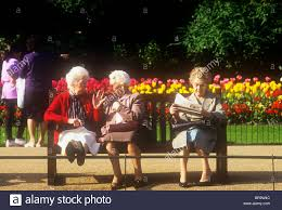 Bench Ladies Three Old Ladies Sitting On A Park Bench London Stock Photo