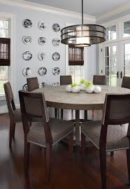 beautiful home dining room decor with grey rounded chandelier