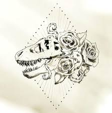 dinosaur skull with roses tattoo design