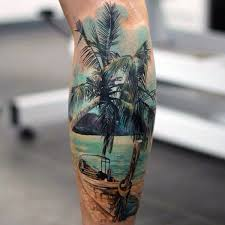 real photo like colorful old boat with palm tree and ocean tattoo